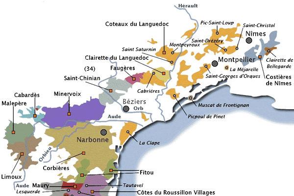 Kaart Languedoc